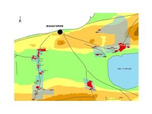 Обследованные по сплошной схеме территории в округе Фанагории (около 8 кв. км) с выделением всех возможных сельских поселений.