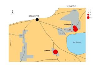 Количество фрагментов керамики, датированных V в. до н.э.