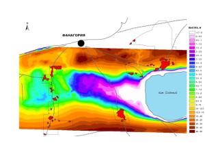 Модель рельефа восточной части долины к югу от Фанагории с обозначением обследованных участков и выявленных поселений