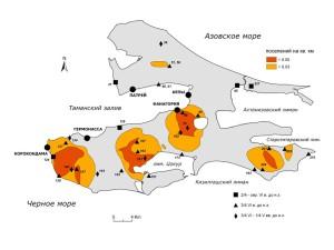 Поселения второй половины VI в. до н.э. (нумерация поселений по археологической карте Я.М. Паромова)