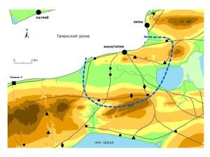 Условная граница сельской округи Фанагории, заданная расположением ранних поселений (дорожная сеть соответствует реконструкции Я.М. Паромова)
