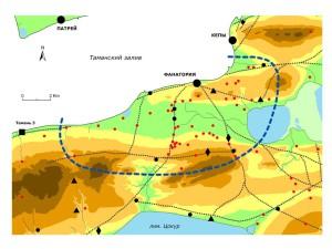 Расширенный вариант границ сельской округи Фанагории, построенный с учетом природных ориентиров