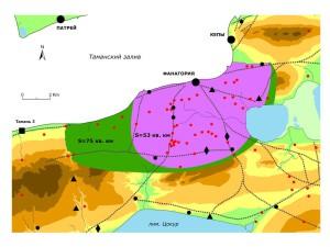 Площади сельской округи Фанагории для предложенных вариантов ее границ