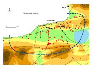 Археологические памятники в пределах сельской округи Фанагории (положение отдельных дорог уточнено на основании аэрофотоснимков)