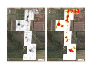 Материалы сплошного обследования 2012 г. на участке к юго-востоку от пос. Приморский (около 18000 исходных отметок местоположения фрагментов керамики и рассчитанная по ним плотность керамики).